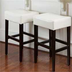 Noble House Rodriguez Backless Bar Stools in Ivory (Set of 2)