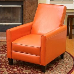 Trent Home Delouth Leather Recliner Chair in Orange
