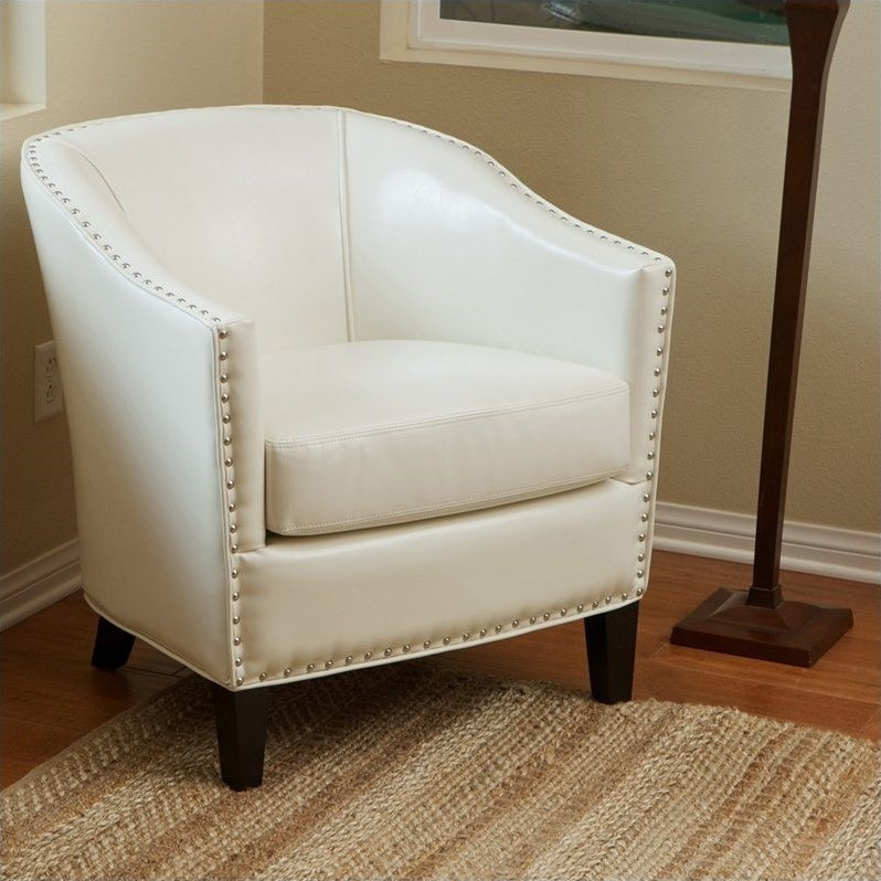 Good Trent Home Jeremy Leather Club Barrel Chair In Ivory