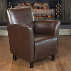 Trent Home Robin Faux Leather Club Chair in Brown