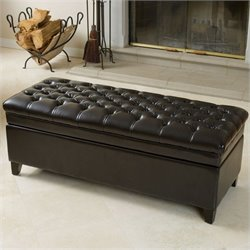 Noble House Spencer Storage Ottoman in Espresso Brown