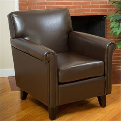 Trent Home Olivier Faux Leather Club Chair in Brown
