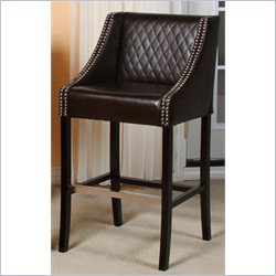 Noble House Carlita Quilted Bar Stool in Brown