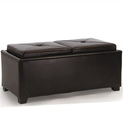 Noble House Silvio Double Tray Ottoman in Brown