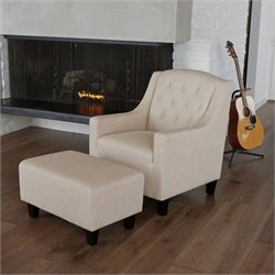 Trent Home Rodrigo Club Chair and Ottoman in Beige