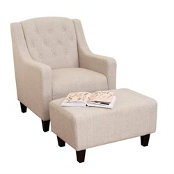 Trent Home Rodrigo Arm Chair and Ottoman in Beige
