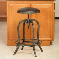 Noble House Rina Leather Adjustable Bar Stool in Brown