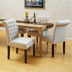 Noble House Stanley Dining Chairs in Ivory (Set of 2)