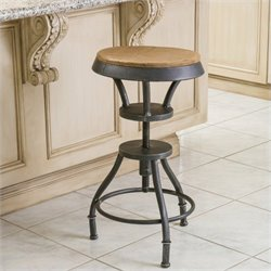 Noble House Fortune Fir Top Adjustable Bar Stool in Natural Wood