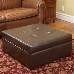 Noble House Redondo Leather Storage Ottoman in Brown