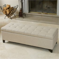 Noble House Guadaloupe Storage Ottoman Bench in Beige