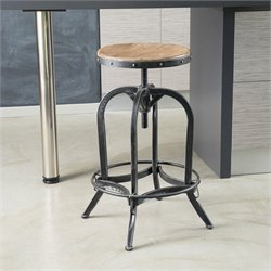 Noble House Mikah Adjustable Bar Stool in Weathered Oak