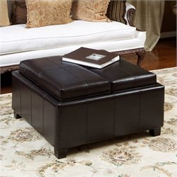 Trent Home Bordeaux Tray Top Storage Ottoman in Espresso