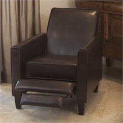 Noble House Delouth Leather Recliner Club Chair