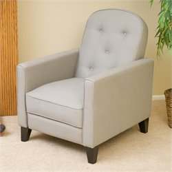 Noble House Albany Tufted Fabric Recliner in Grey