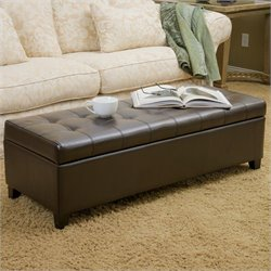 Trent Home Guadaloupe Leather Ottoman Storage Bench in Brown