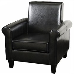 Trent Home William Leather Club Chair in Black