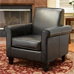 Noble House William Leather Club Chair in Black