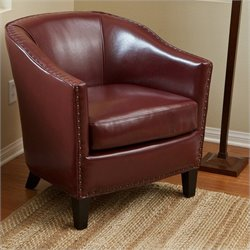 Trent Home Jeremy Leather Club Chair in Red