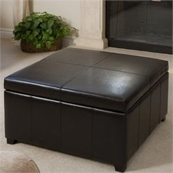 Noble House Del Ray Square Storage Ottoman in Espresso