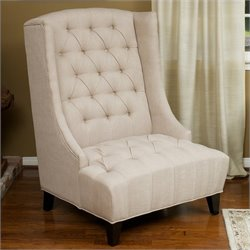 Noble House Ford Tall Wingback Club Chair in Beige