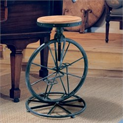 Noble House Davide Bicycle Wheel Adjustable Bar Stool in Natural