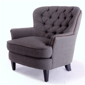 Trent Home Kennedy Fabric Club Chair in Gray