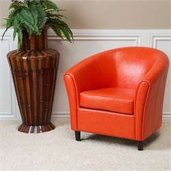 Trent Home Jean Leather Barrel Club Chair in Orange