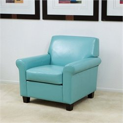 Trent Home Baley Leather Club Chair in Blue