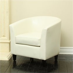 Trent Home Leather Club Chair in Ivory