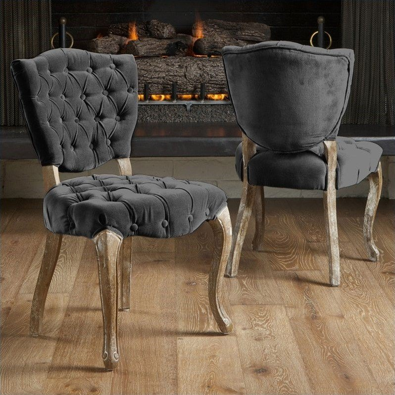 Room Store Chandler: Noble House Chandler Tufted Fabric Dining Chairs In Grey