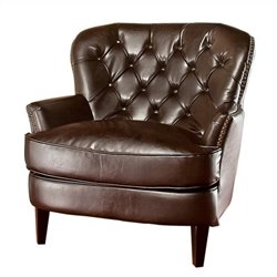 Trent Home Kennedy Tufted Leather Club Chair in Brown