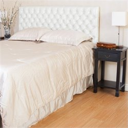 Trent Home Sioux Adjustable Queen/Full Tufted Panel Headboard in Ivory