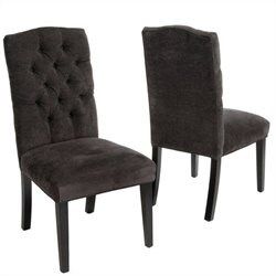 Trent Home Aaron Crown Top Dining Chairs in Dark Grey (Set of 2)