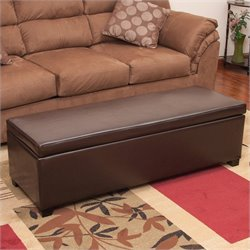 Trent Home Cara Leather Storage Ottoman in Brown