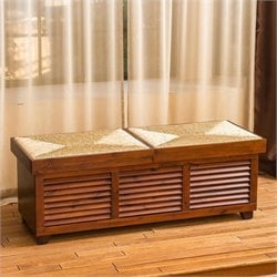Noble House Roberto Storage Ottoman Coffee Table in Mahogany