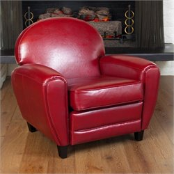 Trent Home Marlin Leather Club Chair in Red