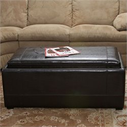 Noble House Jordan Leather Nested Ottomans in Deep Espresso Brown