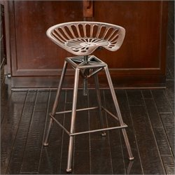 Noble House Lawrence Saddle Bar Stool in Copper and Silver
