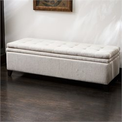 Noble House Genevieve Storage Ottoman in Ivory