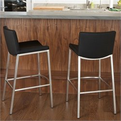 Noble House Kyle Bar Stool in Black (Set of 2)