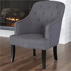 Trent Home Tufted Busch Barrel Chair in Gray