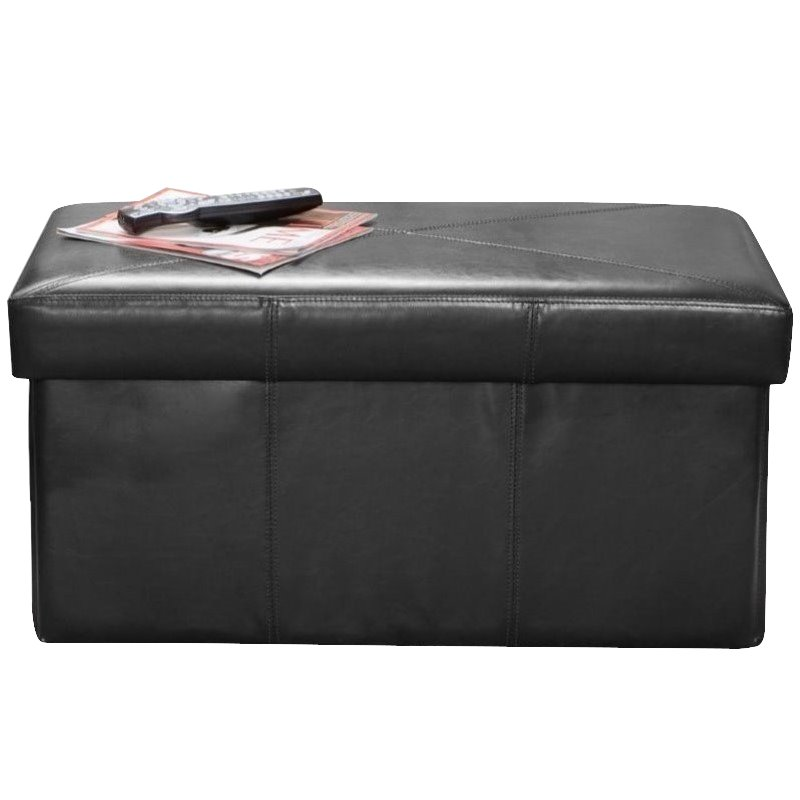 Noble House Angie Leather Storage Ottoman Bench in Black
