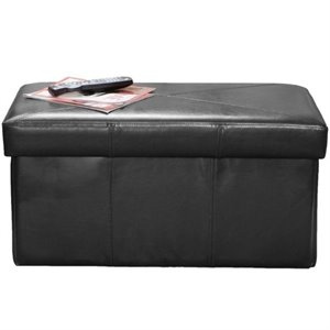 Trent Home Angie Leather Storage Ottoman Bench in Black
