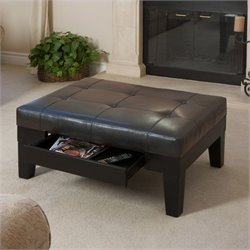 Noble House Gotham Storage Ottoman in Dark Espresso