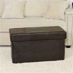 Trent Home Angie Folding Storage Ottoman in Brown