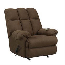 Dorel Living Massage Rocker Recliner in Chocolate