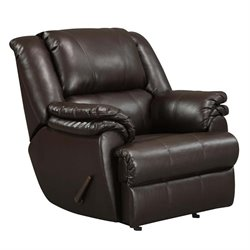 Dorel Living Faux Leather Recliner Rocker in Brown