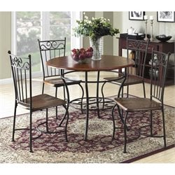 Dorel Living 5 Piece Round Wood Top Dining Set in Black