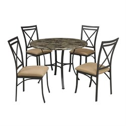 Dorel Living 5 Piece Round Faux Marble Top Dining Set in Black